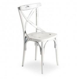 Sedia in legno di faggio crudo curvato bianco anticato 51x51xh.89 cm