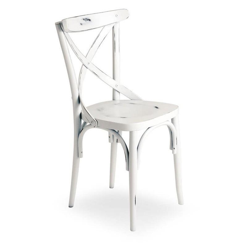 Sedia Bianca Legno.Sedia In Legno Di Faggio Crudo Curvato Bianco Anticato