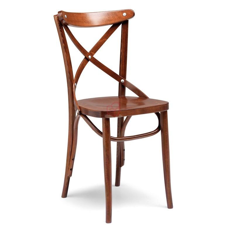Sedia in legno di faggio crudo curvato color cognac anticato 51x51x...