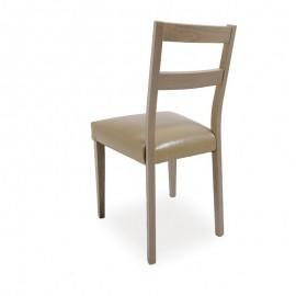 Sedia in legno di faggio larice con seduta in ecopelle tortora 45x45xh.88 cm