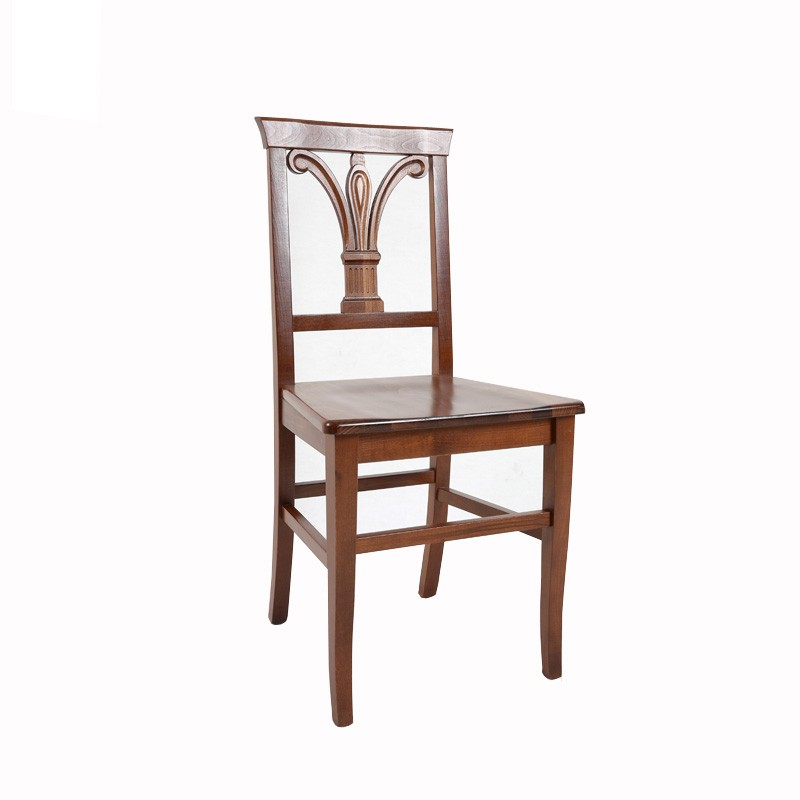Sedia in legno massello noce lavorazione schienale a giglio  46x51xh.91 cm