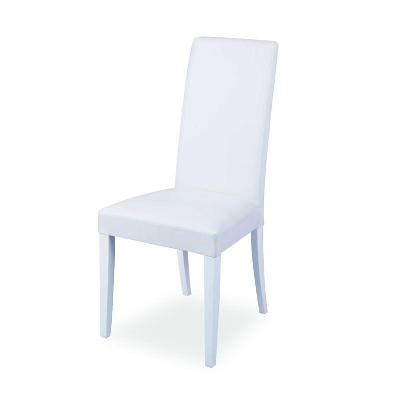 Sedia in legno in tinta rivestita con ecopelle bianca  48x47xh.101 cm