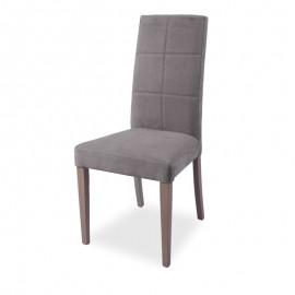 Sedia in legno rivestita ecopelle grigio struttura in tinta 48x47xh.101 cm