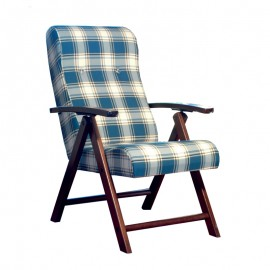 Poltrona regolabile 4 posizioni  legno e tessuto a scacchi blu 65x70xh.87 cm