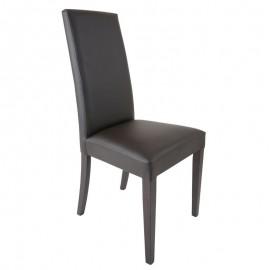 Sedia in legno in tinta rivestita in ecopelle marrone 48x47xh.101 cm