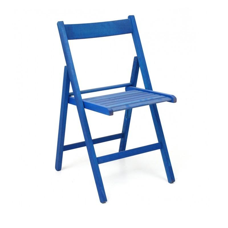 Sedia pieghevole in faggio di alta qualita colore blu 43x48xh.79 cm