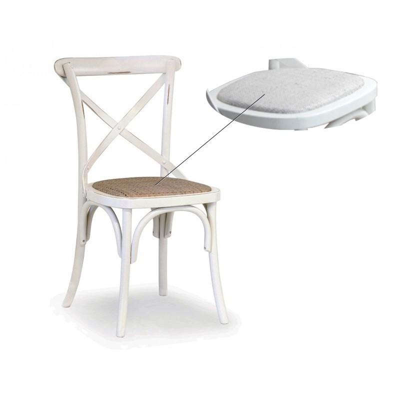 Sedia in legno faggio curvato bianco anticato seduta ecopelle 51x51...
