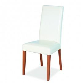 Sedia in legno color noce rivestita in ecopelle colore panna 48x47xh.101 cm