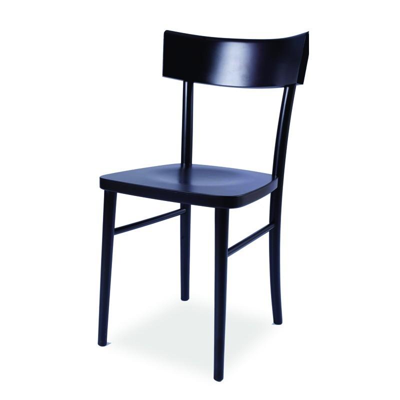 Sedia in legno di faggio crudo curvato nero opaco 40x42xh.81 cm