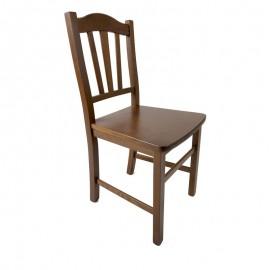Sedia in legno massello colore noce schienale decorato  46x51xh.95 cm