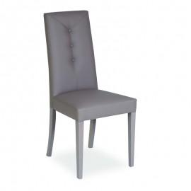 Sedia in legno in tinta rivestita in ecopelle color tortora  48x47xh.101 cm