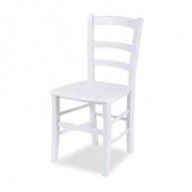 Sedia classica in legno massello di faggio colore bianco  41x42xh.88 cm