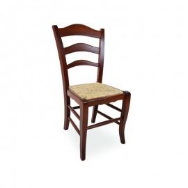 Sedia in legno massello di faggio colore noce seduta in paglia 50x51xh.97 cm
