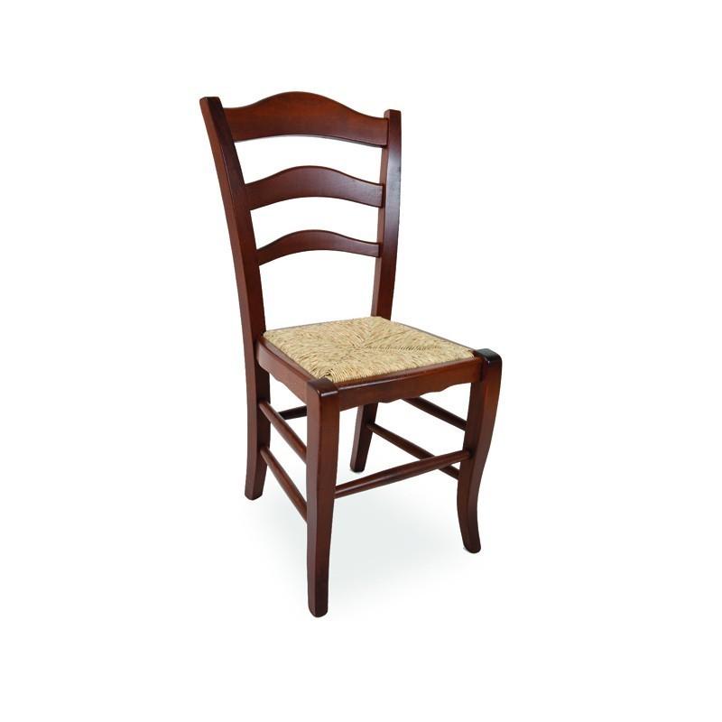 Sedia in legno massello di faggio colore noce seduta in paglia 50x5...