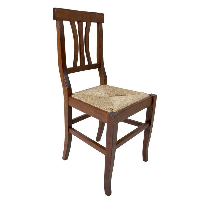 Sedie Legno E Paglia.Sedia In Legno Massello Colore Noce E Seduta In Paglia 43x45xh 91 Cm