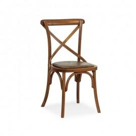 Sedia in legno faggio curvato cognac anticato seduta ecopelle 51x51xh.89 cm