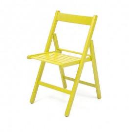 Sedia pieghevole in faggio di alta qualita colore giallo 43x48xh.79 cm