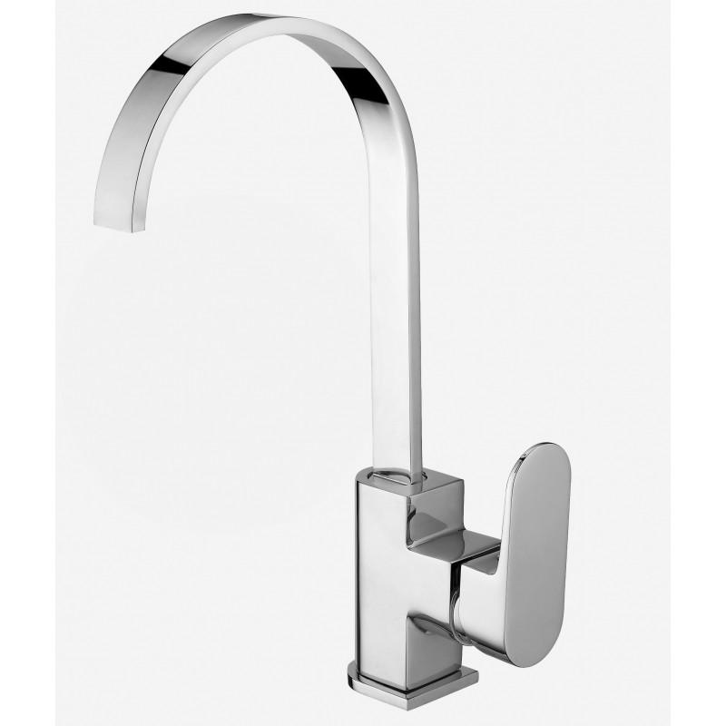 Rubinetto miscelatore per lavabo cucina finitura cromo h.32x18 cm