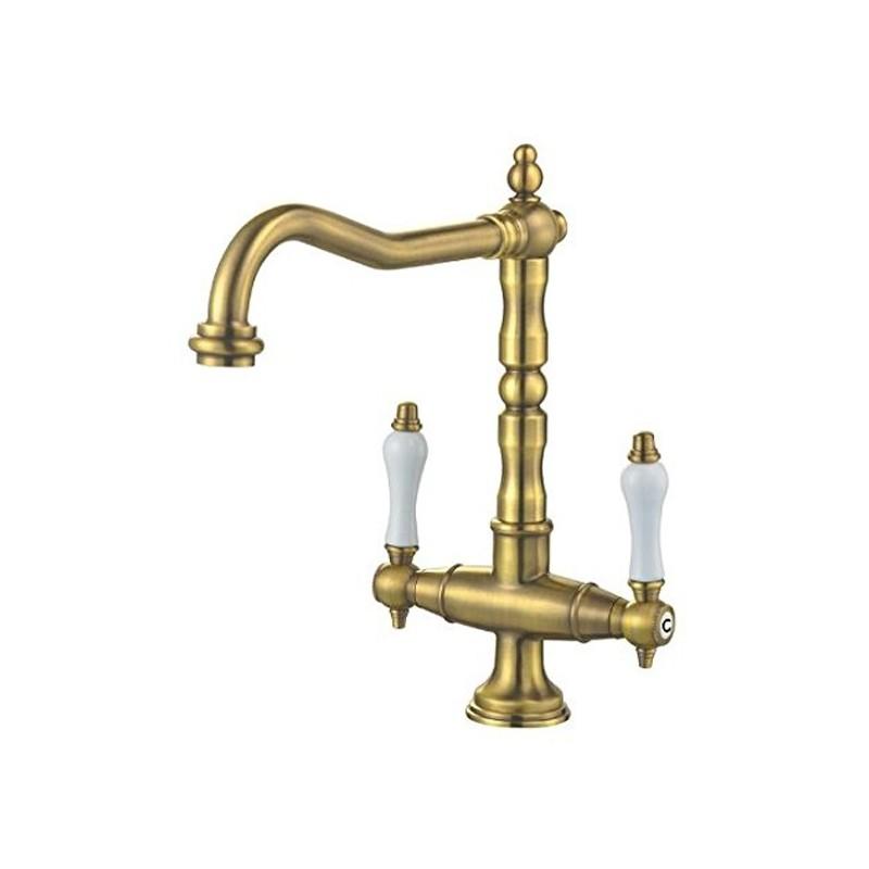 Rubinetto ottone antico per lavello cucina for Bricoman rubinetti cucina