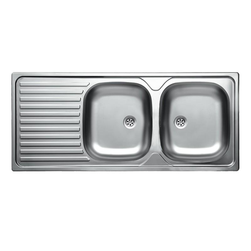 Lavello cucina due vasche acciaio inox con gocciolatoio sinistra 50...