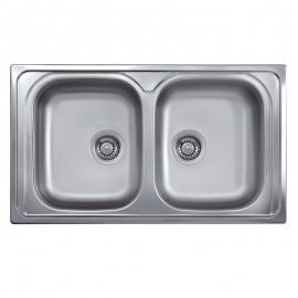 Lavello cucina doppia vasca acciaio inox saldato da incasso 50x86 cm