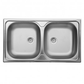 Lavello da cucina due vasche in acciaio inox superfice satinata 50x79 cm