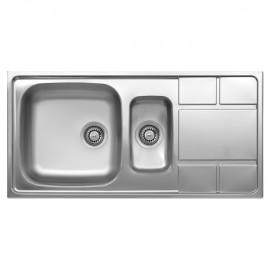 Lavello cucina vasca e vaschetta a destra in acciaio spazzolato 50x100 cm