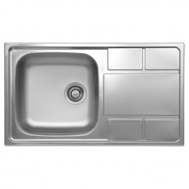 Lavello cucina vasca  gocciolatoio a destra in acciaio spazzolato 50x86 cm