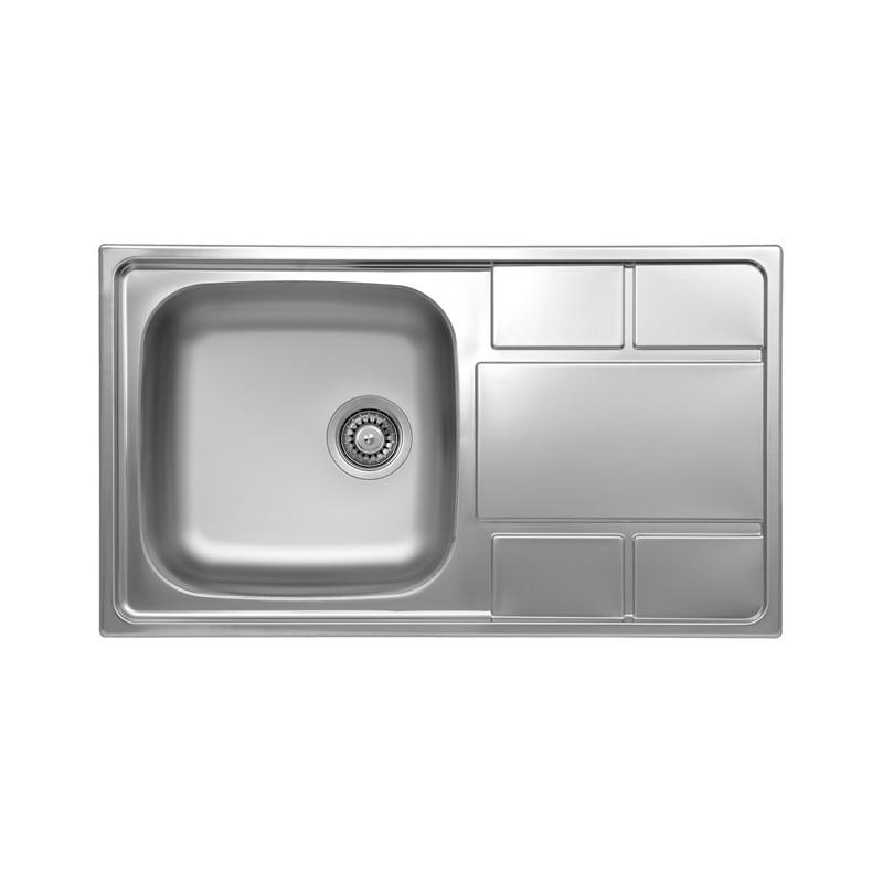 Lavello cucina vasca gocciolatoio a destra in acciaio spazzolato 50...