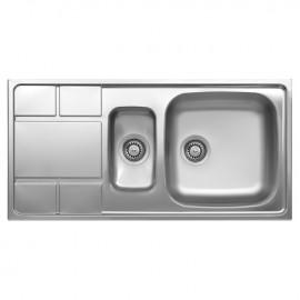 Lavello cucina vasca con vaschetta a sinistra acciaio spazzolato 50x100 cm