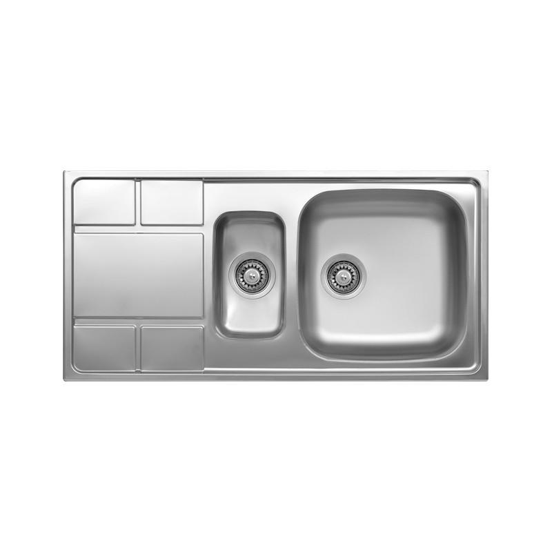 Lavello Cucina 75 Cm.Lavello Cucina Vasca Con Vaschetta A Sinistra Acciaio Da Incasso 50
