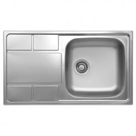 Lavello cucina vasca gocciolatoio sinistra in acciaio spazzolato 50x86 cm