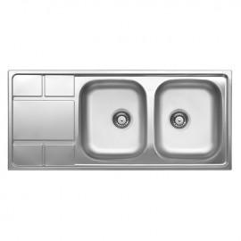 Lavello cucina due vasche acciaio spazzolato con gocciolatoio SX 50x116 cm