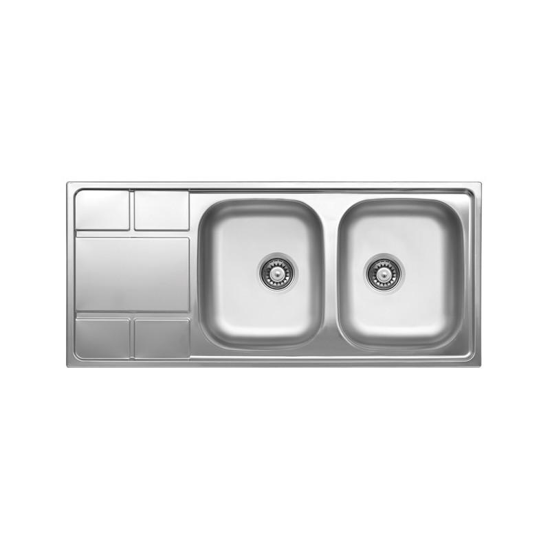 Lavello cucina due vasche acciaio da incasso con gocciolatoio sx 50x116 cm