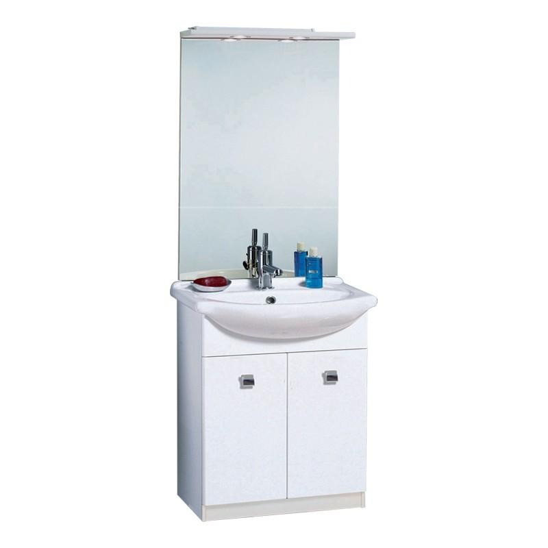 Specchio Bagno Bianco.Mobile Bagno Bianco 2 Ante Con Lavabo E Specchio 65x35xh 85 Cm