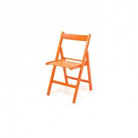 Sedia pieghevole in faggio di alta qualita colore arancio 43x48xh.79 cm