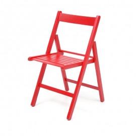 Sedia pieghevole in faggio di alta qualita colore rosso 43x48xh.79 cm