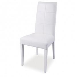Sedia in legno rivestita in ecopelle bianca struttura in tinta 48x47xh.101 cm