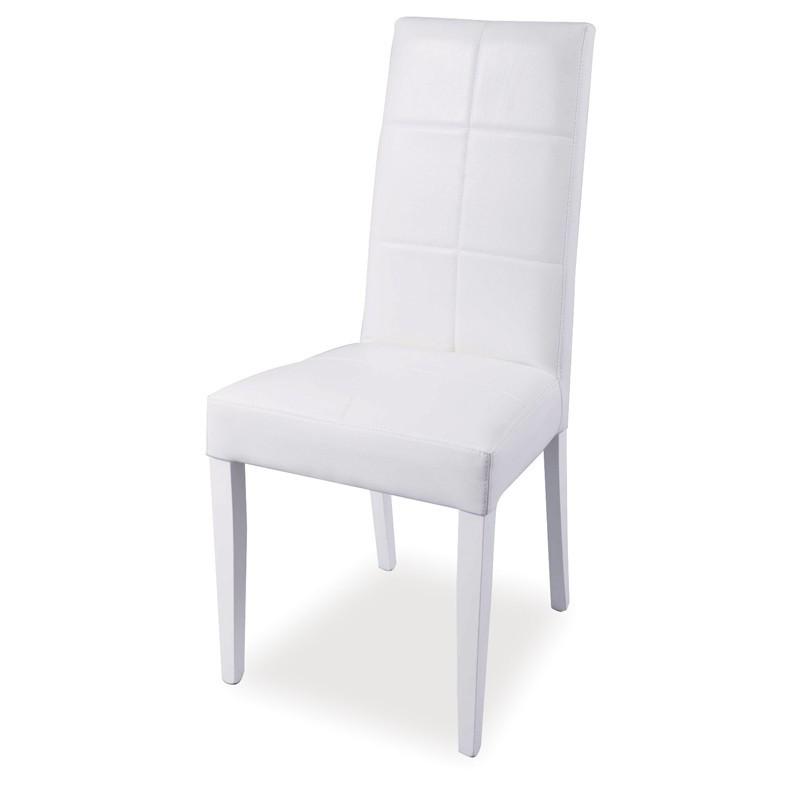 Sedia in legno rivestita in ecopelle bianca struttura in tinta 48x4...
