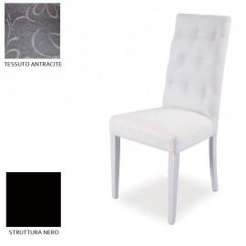 Sedia in legno nero imbottita in tessuto antracite capitone