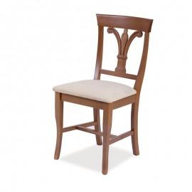 Sedia in legno massello noce seduta tessuto schienale giglio  46x51xh.91 cm