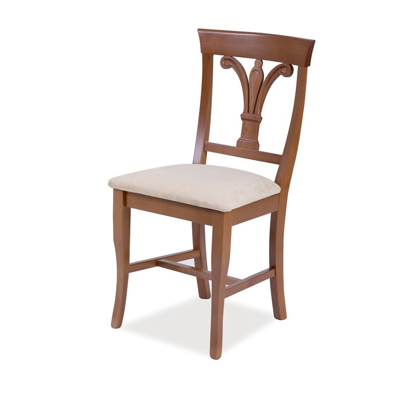 Sedia in legno massello noce seduta tessuto schienale giglio 46x51x...