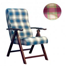 Poltrona regolabile 4 posizioni legno e tessuto a scacchi bordeaux 65x70xh.87 cm