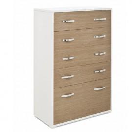 Cassettiera legno nobilitato 4 cassetti con ribalta bianco e larice grigio h 130
