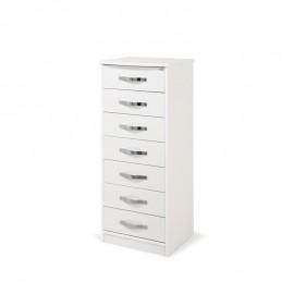 Cassettiera Bianco Frassinato in legno nobilitato con 7 cassetti h-111x46x42 cm
