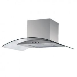 Cappa aspirante in acciaio e vetro curvo a parete lampada alogena 90x50cm