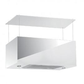 Cappa aspirante bianca per cucina a isola schermo touch luce led 75x35cm