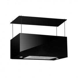 Cappa aspirante nera per cucina a isola schermo touch luce led 75x35cm