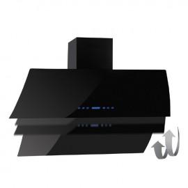Cappa aspirante nera per cucina a parete schermo touch luce led 90x70cm
