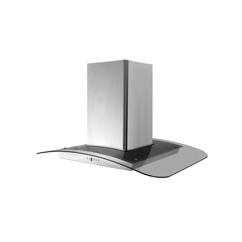 Cappa aspirante in acciaio e vetro per cucina a isola luce led 90x65cm